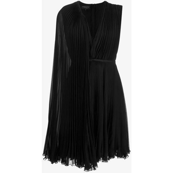 Giambattista Valli Pleated One-Shoulder Cape Dress ($1,775) ❤ liked ...