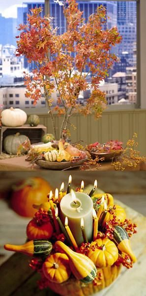 30 Creative Fall Table Decorations and Centerpieces with Pumpkins - natural halloween decorations