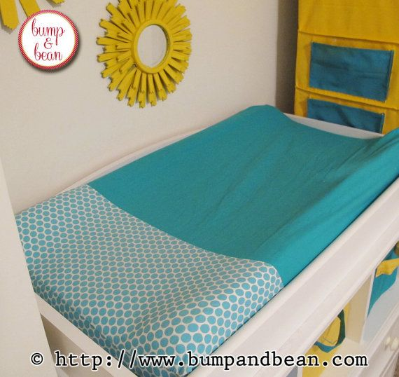 Custom contoured changing pad cover made in your nursery colors and theme.  Handmade by Lisa @ https://www.etsy.com/shop/BumpAndBean