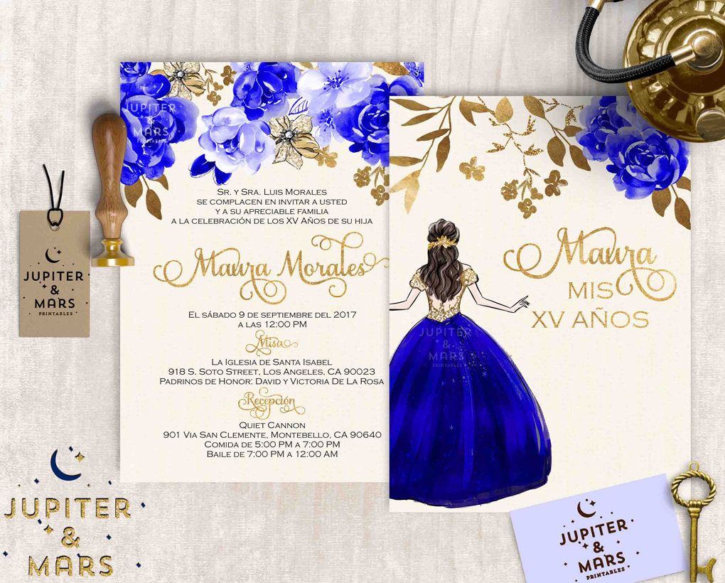 Elegant Royal Blue And Gold Quinceanera Invitation Quinceanera