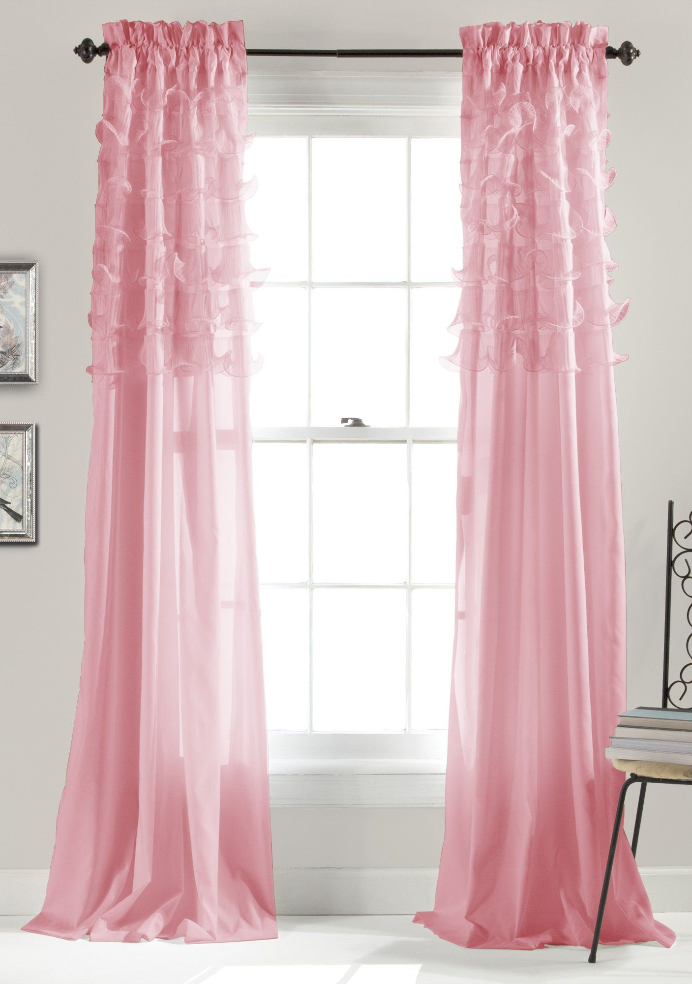 Nursery window ideas  lush decor avery window curtains  by inch pink set of