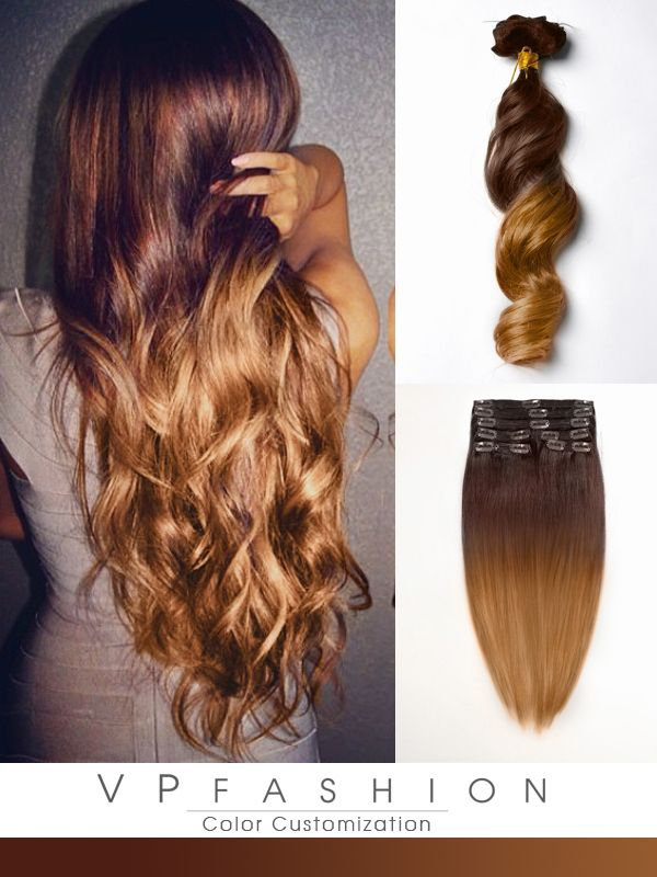 Two Colors Ombre Indian Remy Clip In Hair Extensions M3020 Hair