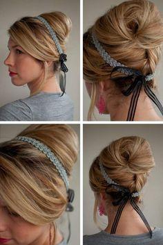 Romantische hochsteckfrisur mit haarband