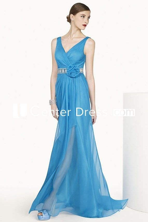 V Neck Sleeveless A-line Chiffon Long Dress With Crystal Flower Waist #chiffonshorts