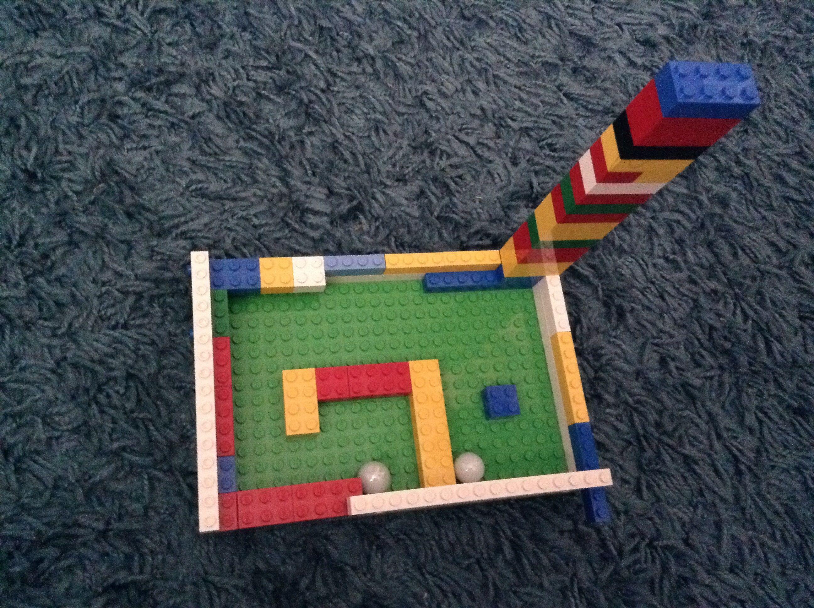 My son's homemade Lego marble run.