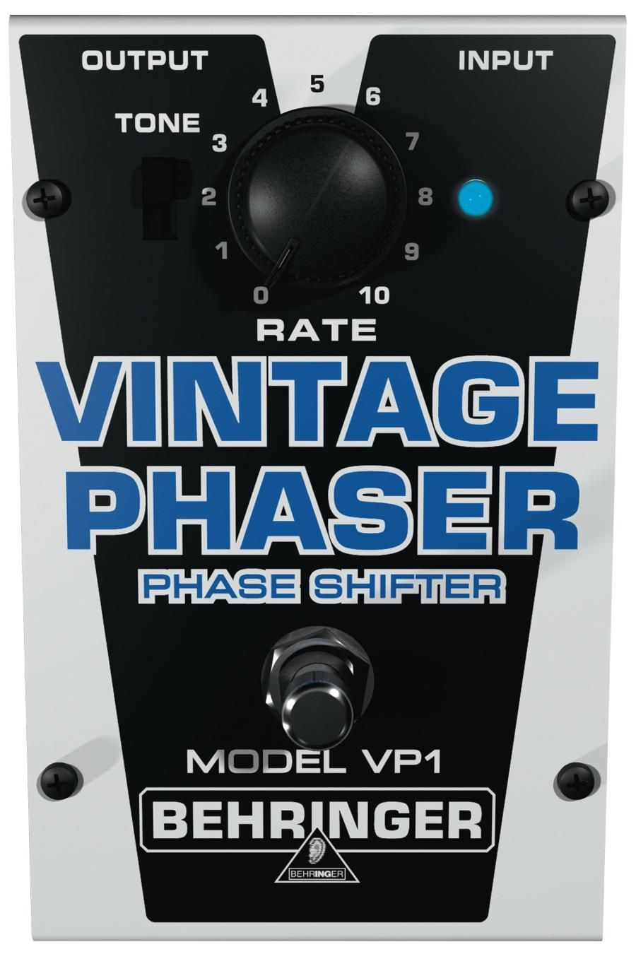 Behringer Vintage Phaser VP1. This pedal is essentially a replica of popular phaser circuits from the '60s, but priced to be super affordable. For a detailed Guide to Phaser Pedals see http://www.guitarsite.com/best-phaser-pedal/