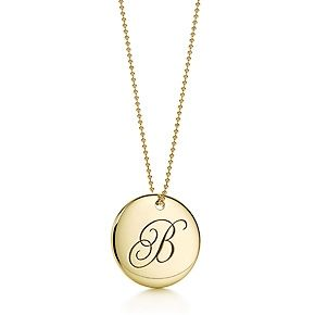 "Alphabet Letter /"" M /"" Round Disc Initial Pendant With 18/"" Chain 14K Yellow Gold"