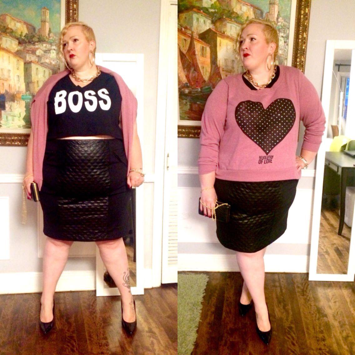 WWW.FLIGHTOFTHEFATGIRL.COM  Rebdolls BOSS crop top, Penningtons skirt, Addition Elle heart sweater.   Plus size fashion.