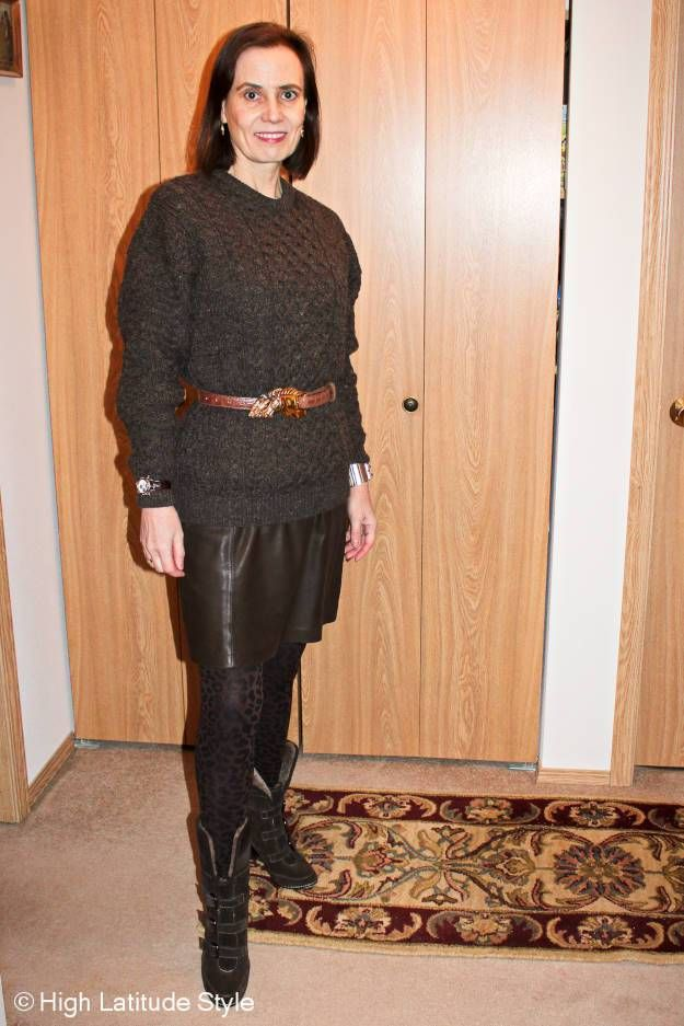 Winter outfit with Irish cable-knit sweater, Eli Tahari leather ...