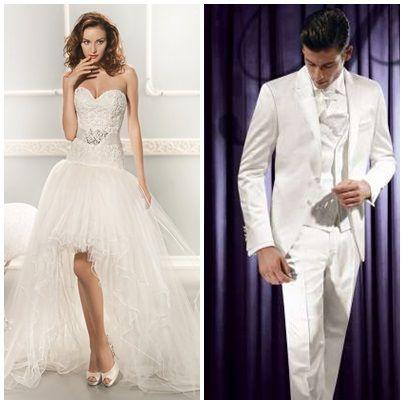 Honeymoon Shop maakt de perfecte match tussen haar trouwjurk en zijn kostuum www.honeymoonshop.nl