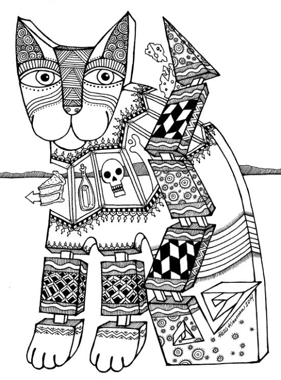 Cool cat coloring page   Dog coloring page, Cat coloring ...   coloring pages for adults cool