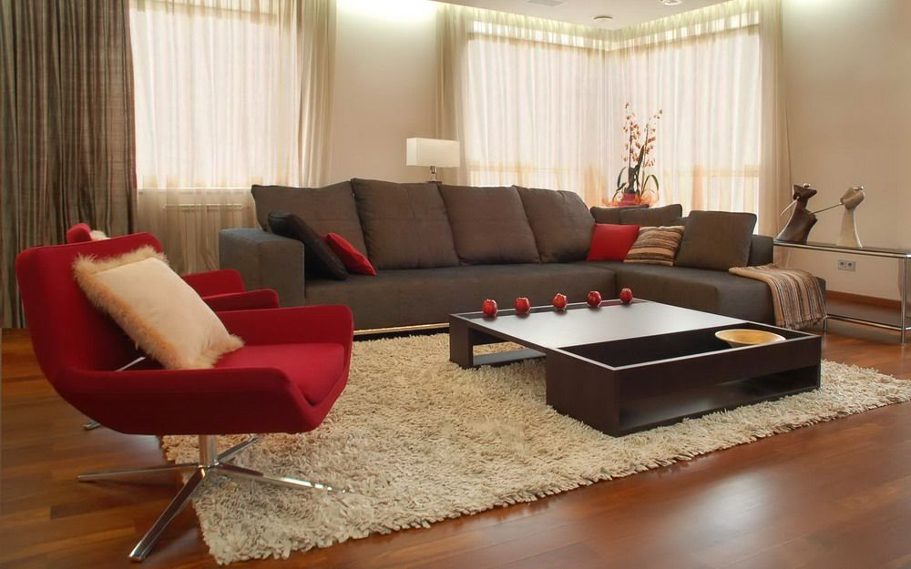 Brown Sofa And Red Chairs In A Modern Living Room Interior Design Choosing  Decorations