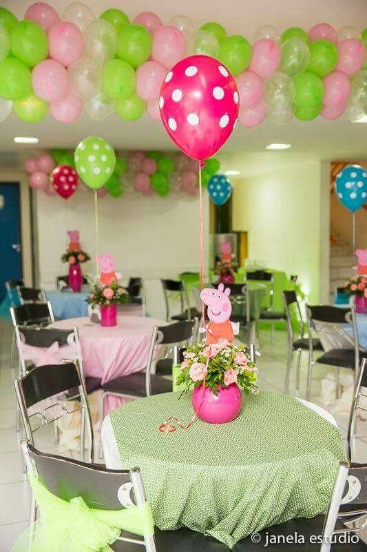 Decoración de salón de fiesta para cumpleaños temático de Peppa ...