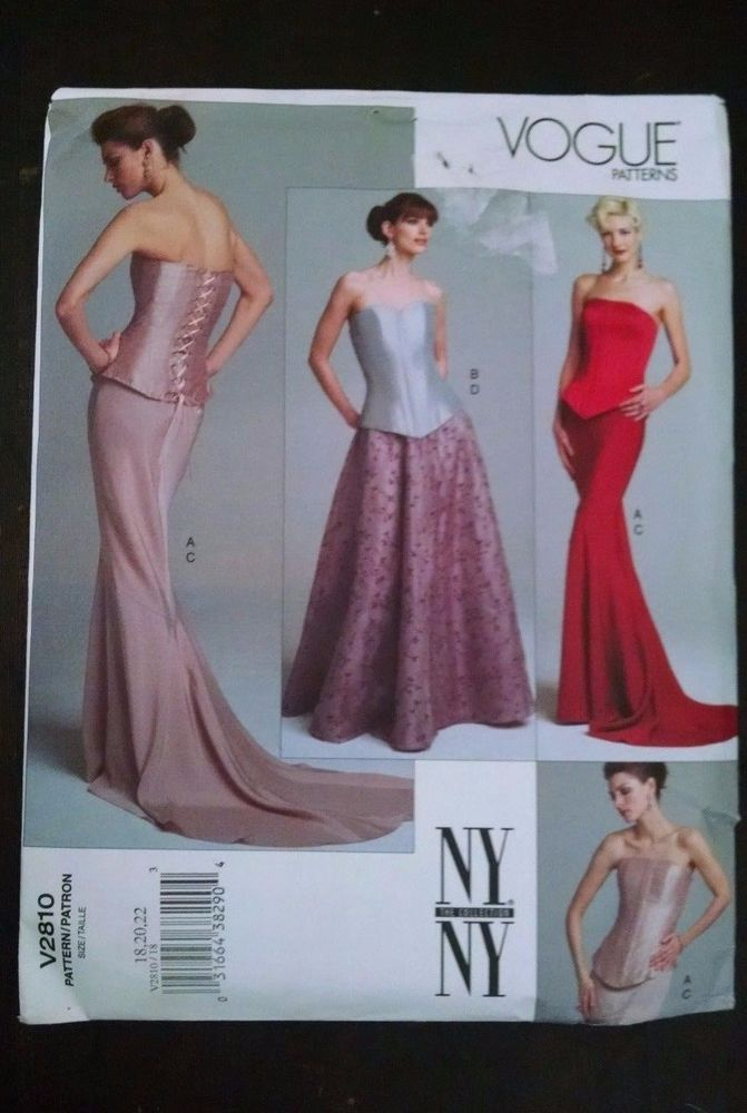 Vogue NY Collection Pattern V2810 Formal Fitted Corset Top Long ...