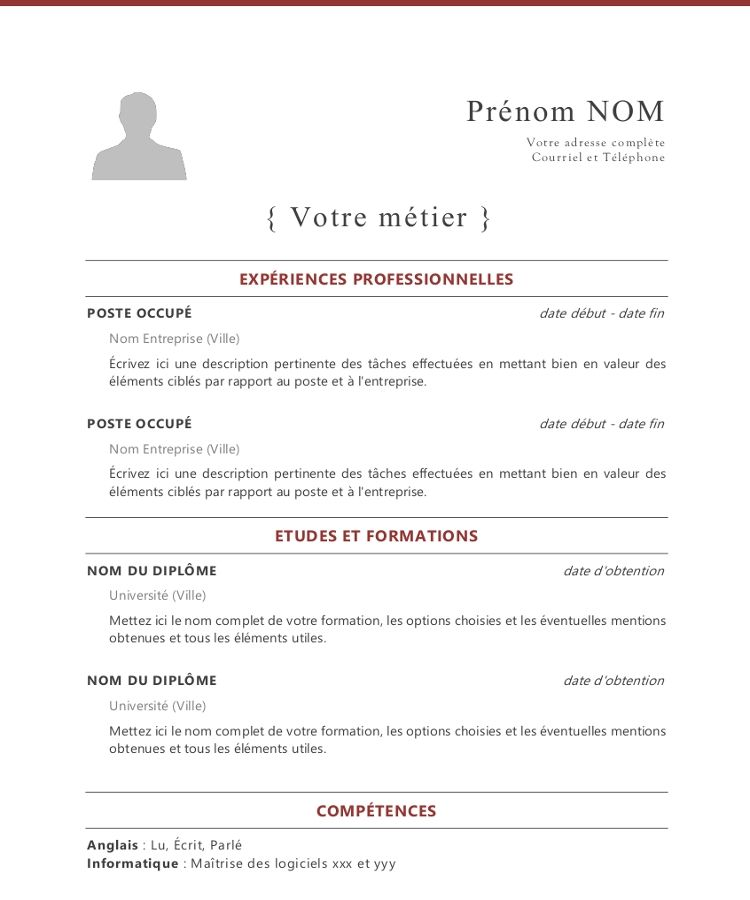 French Cv Template In 2021 Cv Words Free Cv Template Word Cv Template Download