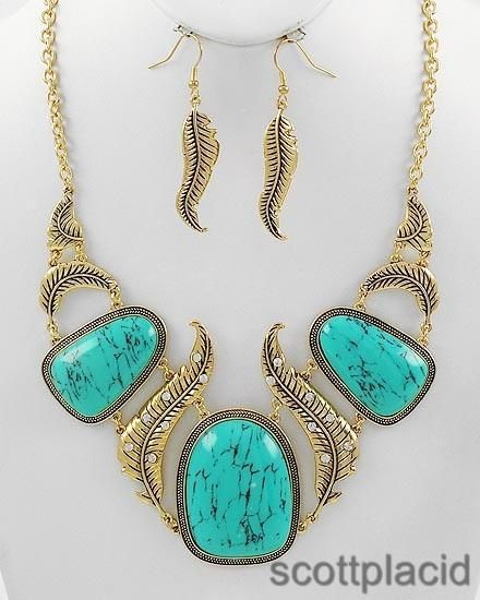 Chunky Feather Gold Tone Turquoise Bib Costume Jewelry Earring