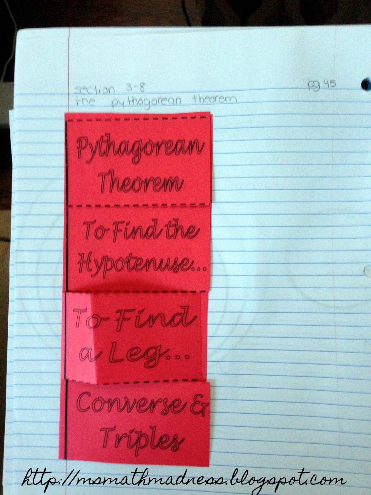 Pythagorean Theorem Foldable Middle School Math Madness