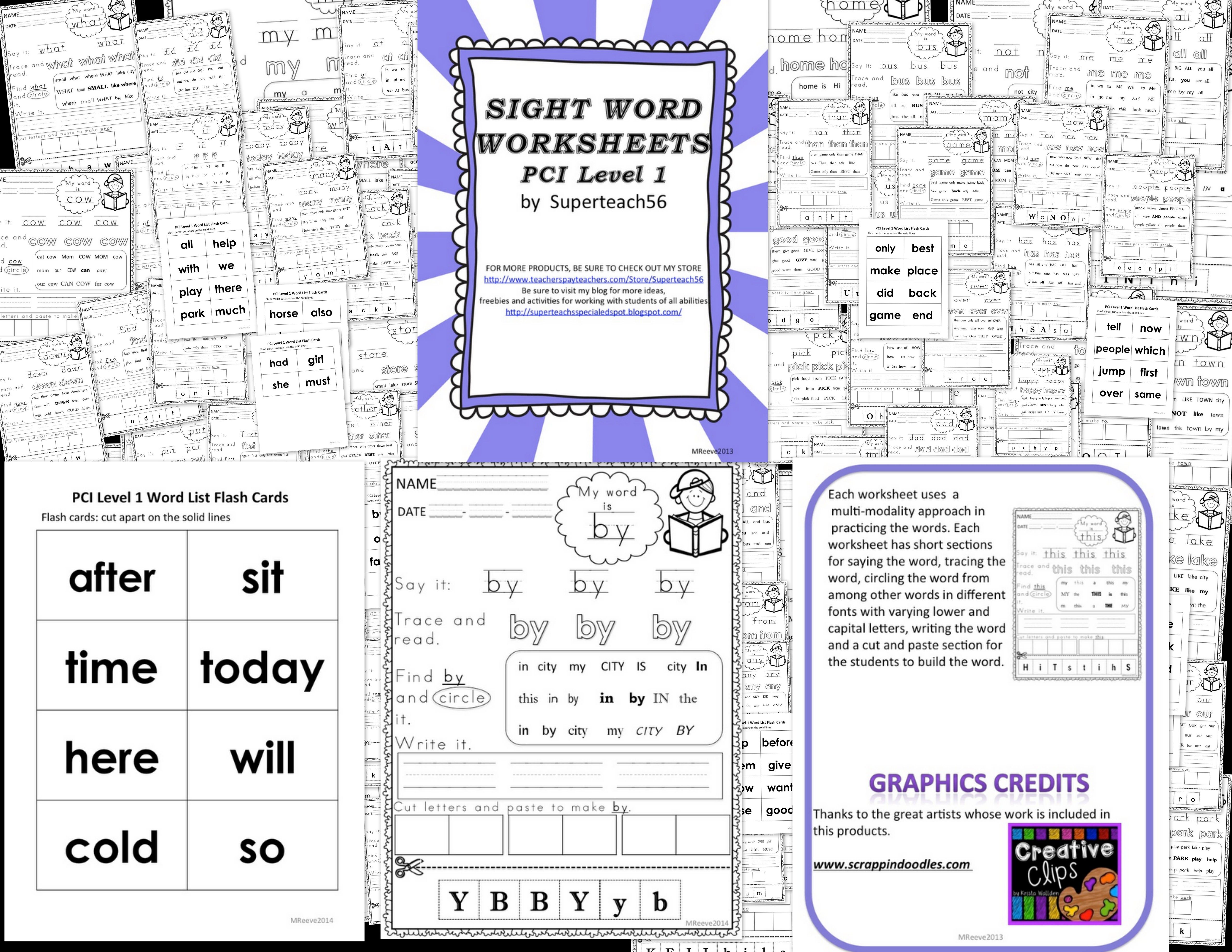 Sight Word Worksheets And Flash Cards Special Education