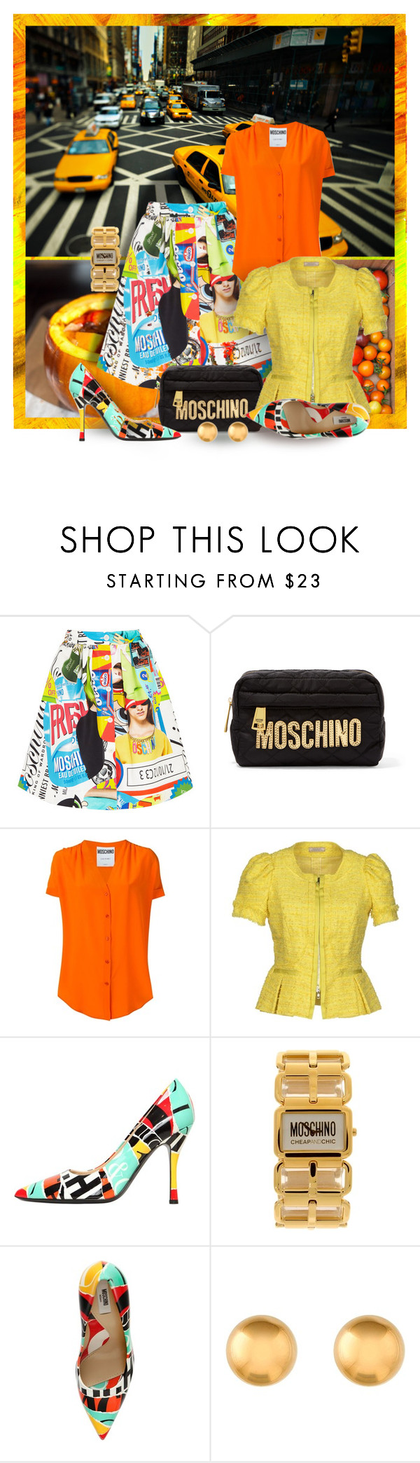"""""""Tricky Trend """"Orange & Yellow"""" - or - Blame it on Moschino !"""" by mary-gereis ❤ liked on Polyvore featuring TAXI, Jamie Oliver, Moschino, Nina Ricci and Moschino Cheap & Chic"""