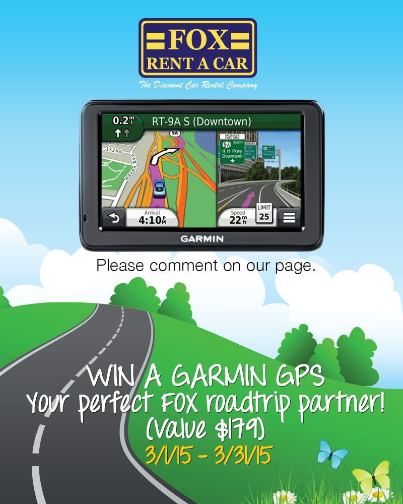 Fox Garmin GPS Giveaway Contests Car rental, Tracking