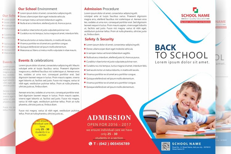 FREE tri fold school brochure Design  File formats PSD, AI, CDR - school brochure template