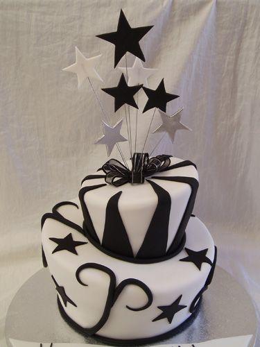 کیک تولد سفید مشکی