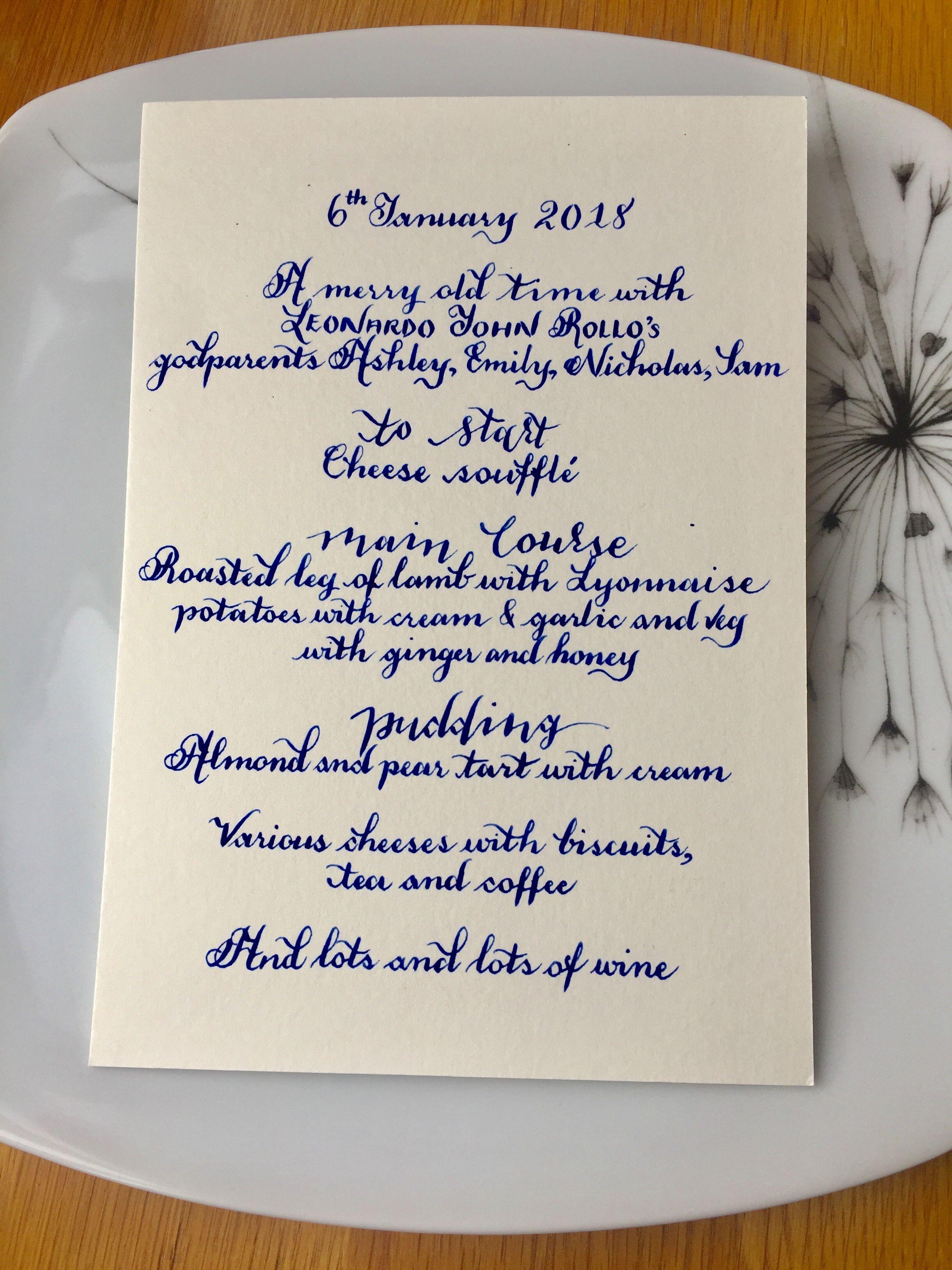 Stylish Handwritten Calligraphy Menu Cards ~ Wedding Reception ...