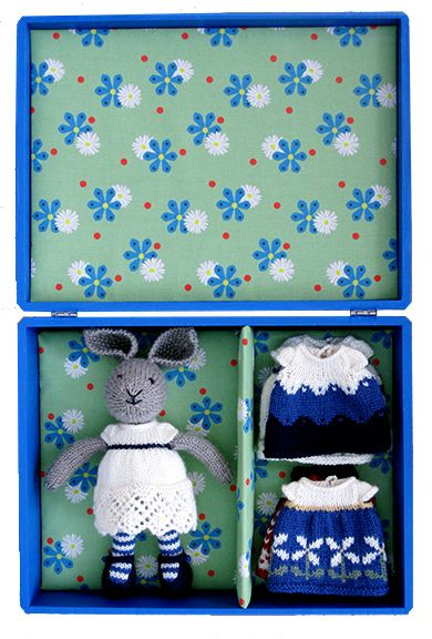 bunny girl in a dotty dress knitting pattern. by little cotton rabbits, Julie Williams.