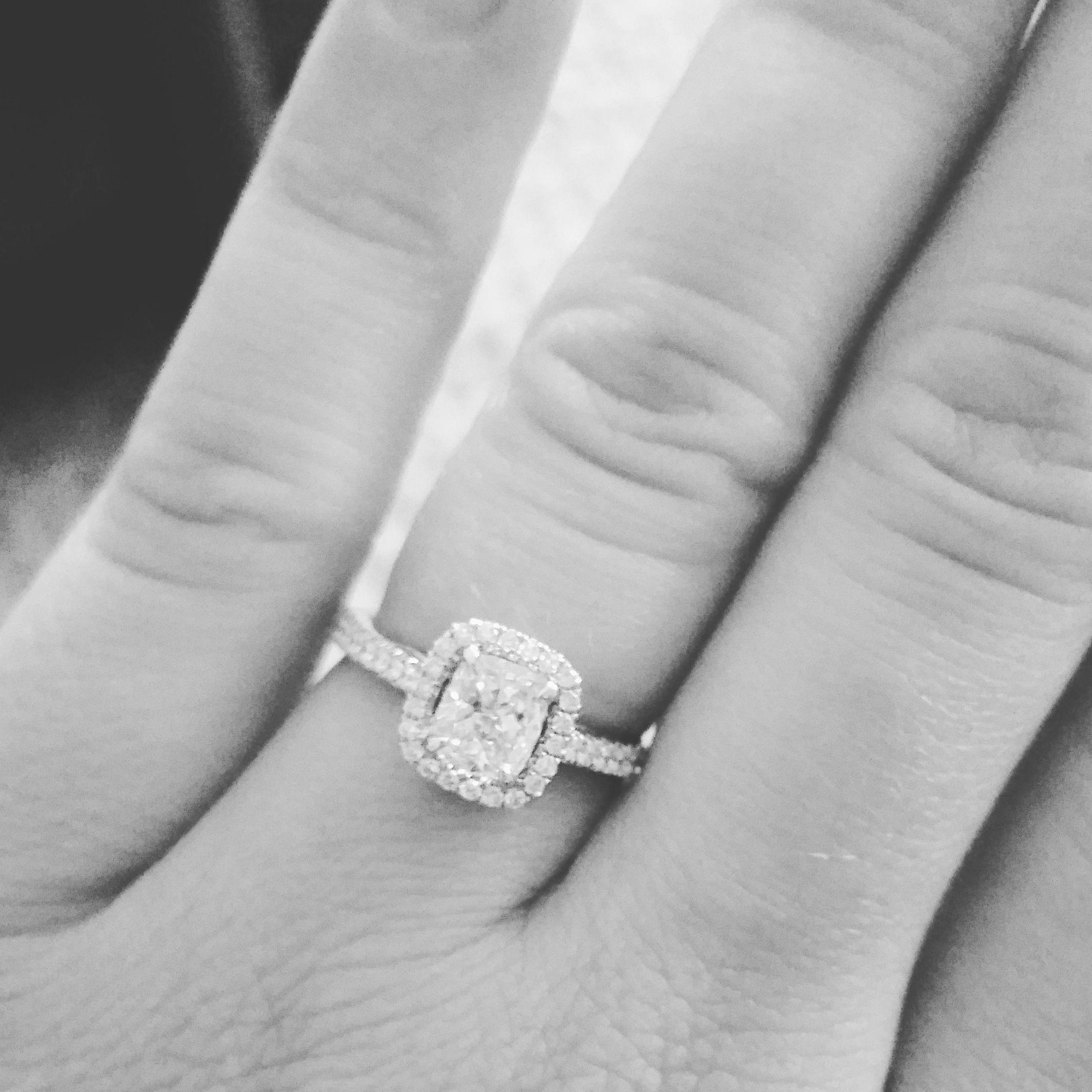 Custom Designed 1k Diamond Engagement Ring Cushion Cut W Halo