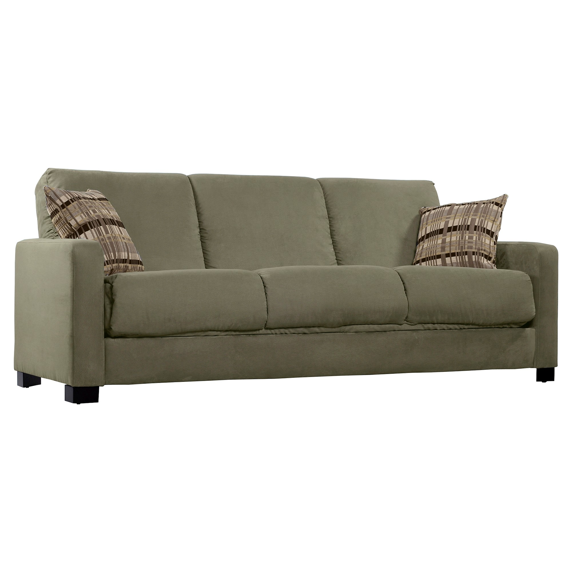 Thora Convert A Couch Sage With Stone Plaid Pillows Handy