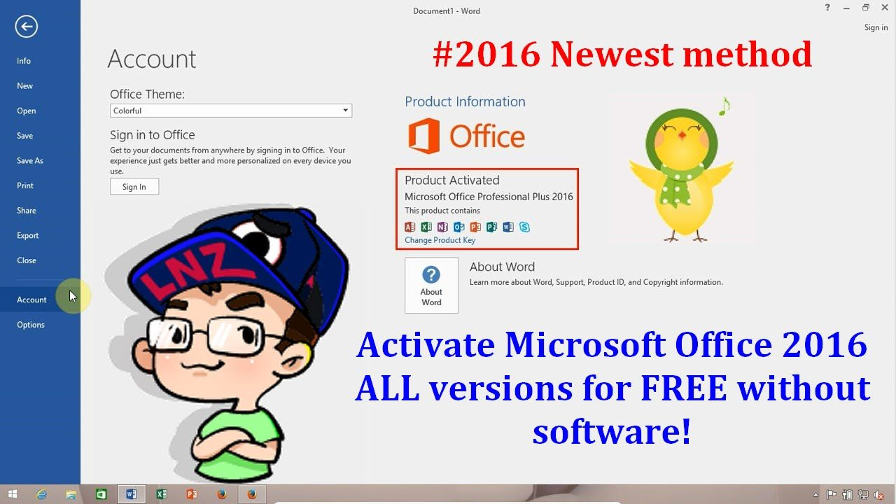 Activate Office 2016 ALL versions for FREE without