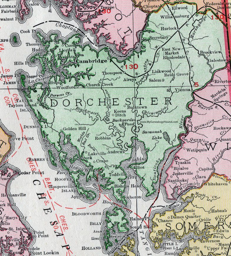 Dorchester County, Maryland, Map, 1911, Rand McNally ... on map of maryland's congressional districts, map of maryland's town, map of maryland's state parks, state of maryland counties, map of maryland's rivers, map of md,