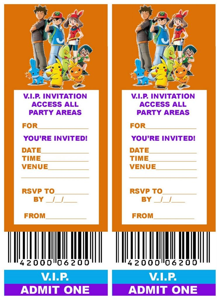 Free Pokemon Invitations Printables Any Pinterest Pokemon - concert ticket invitations template
