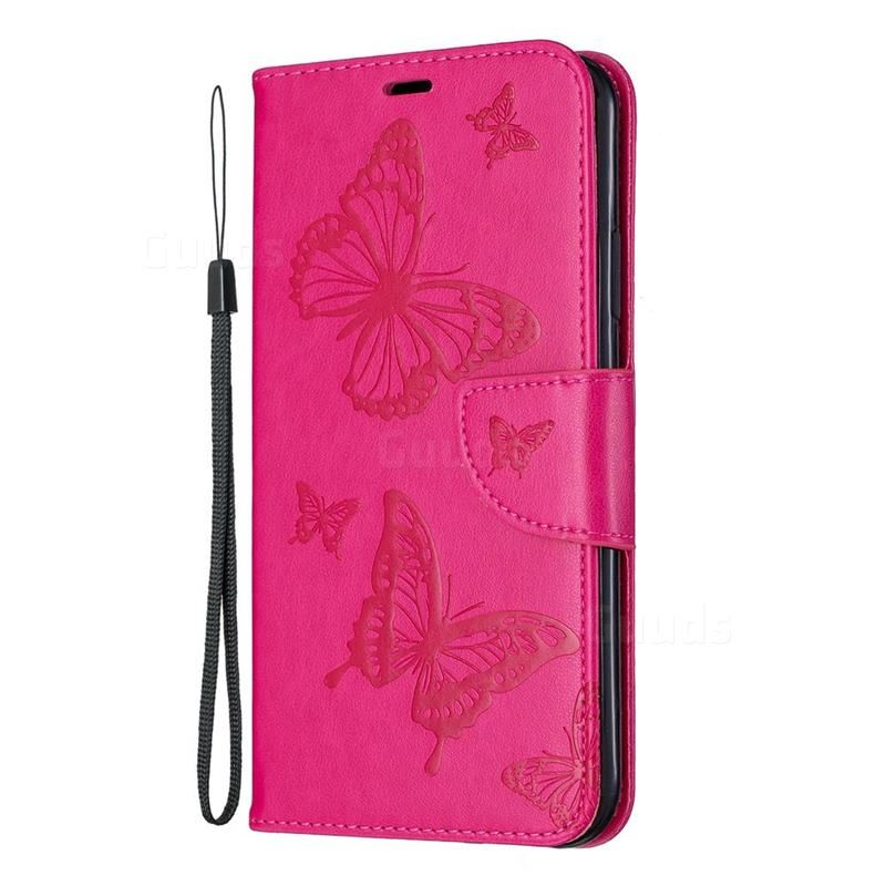 Embossing double butterfly leather wallet case for iphone