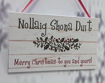 Irish Merry Christmas Sign Decoration, Christmas Gift, Ireland, Handmade,  Cute