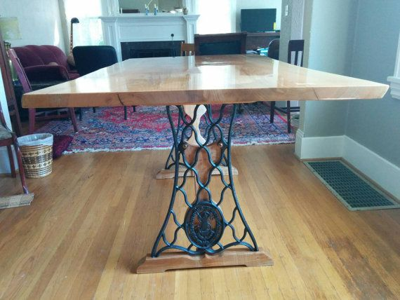 Beautiful Western Maple Slab (6u0027 X 3u0027) Live Edge Dining Room Table! Antique  Singer Treadle Legs Form The Legs! Unique Quality Craftsmanship