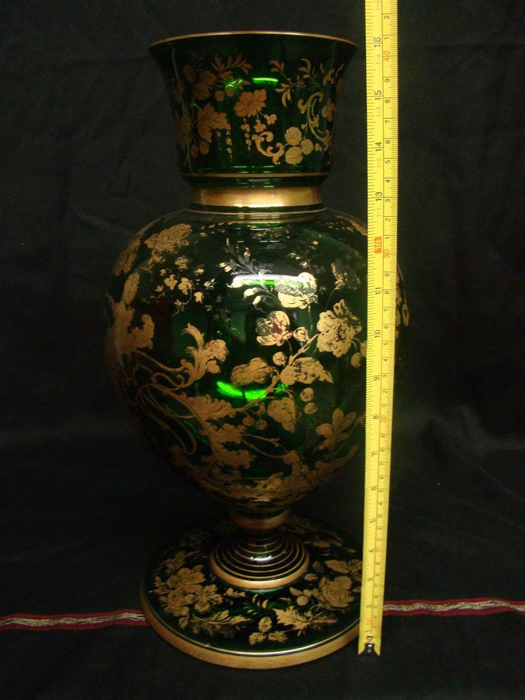 Antique 19th Century Green Bohemian Moser Vase with Gorgeous Flower Details