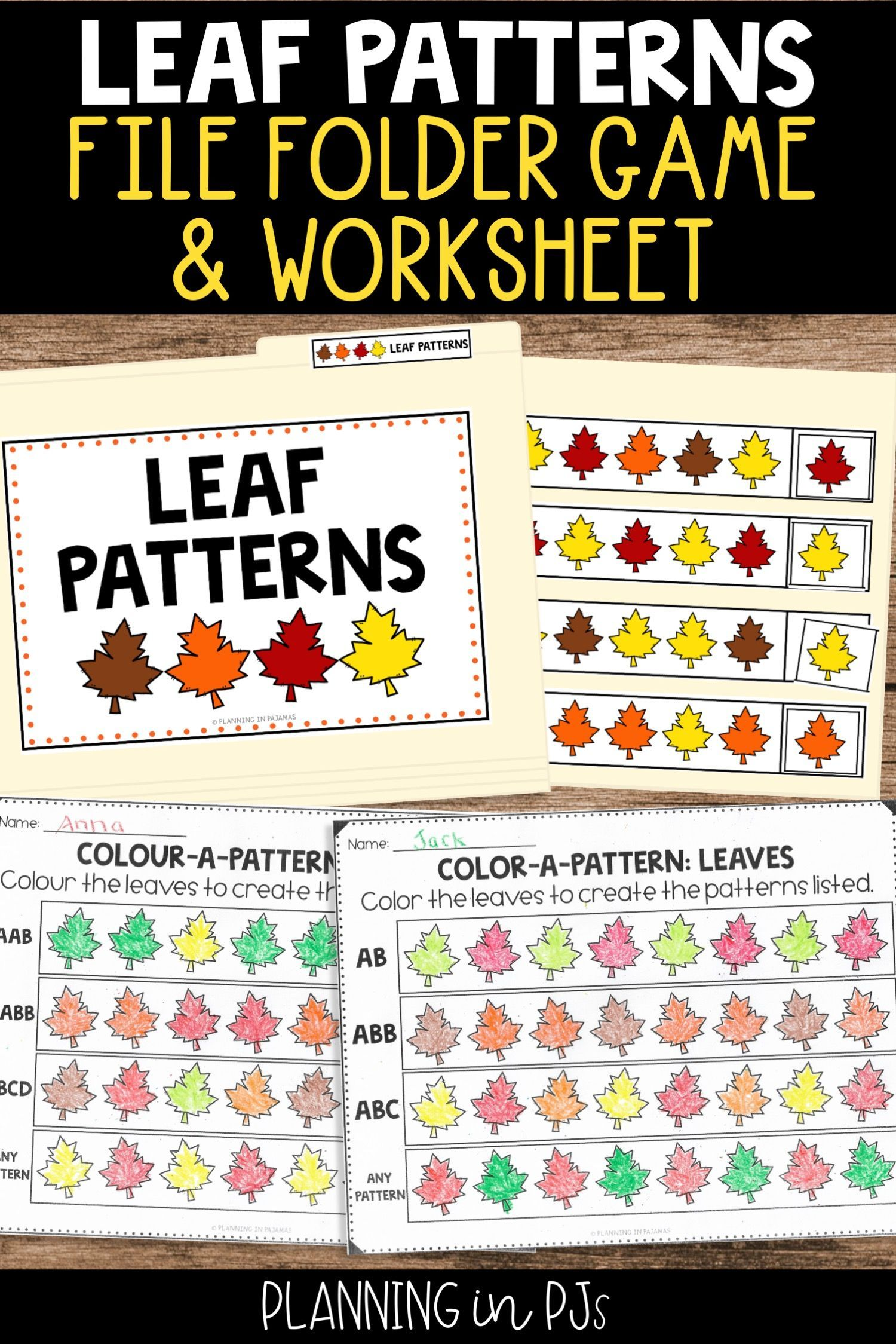 Leaf Patterns Worksheets File Folder Game