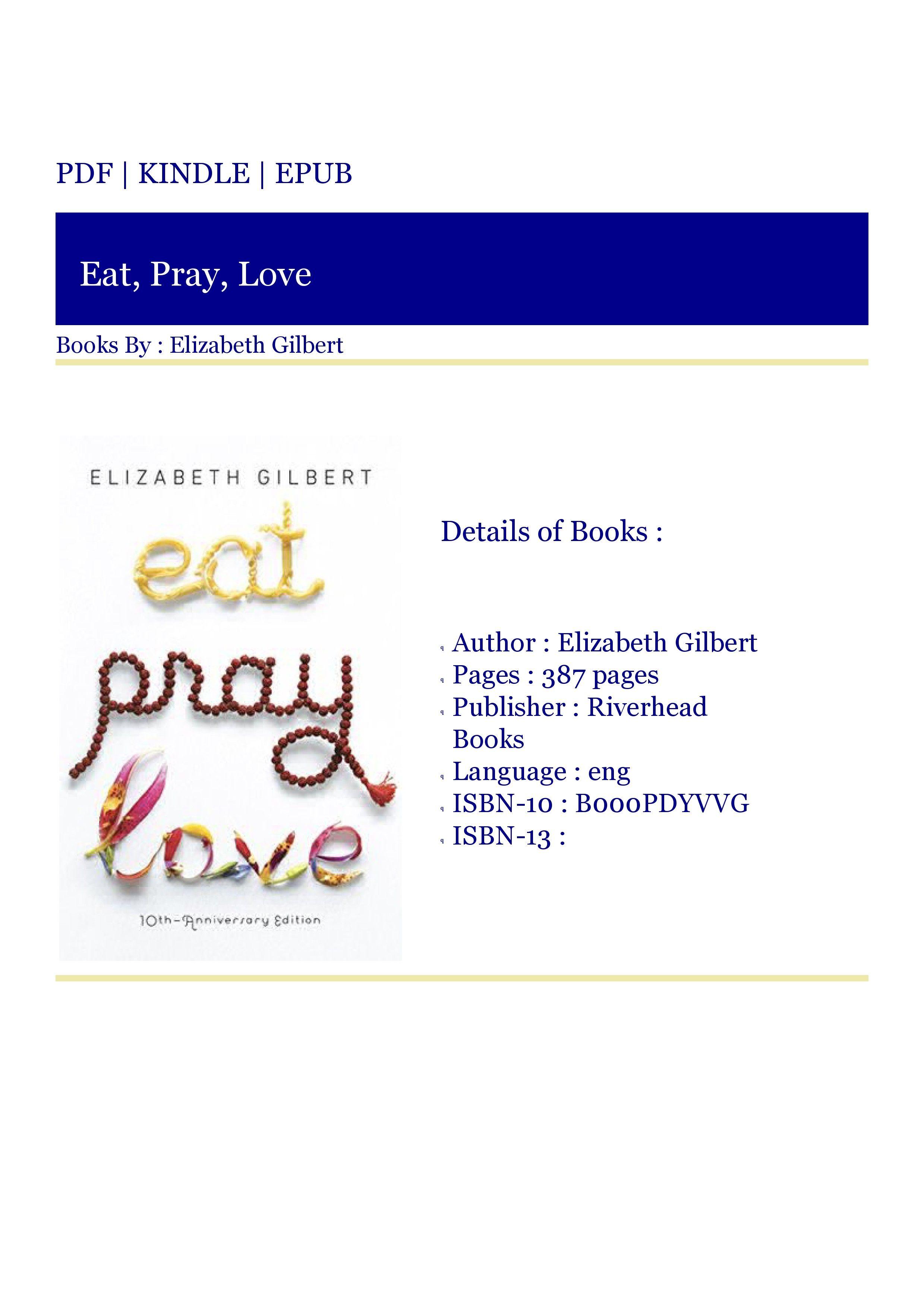 ***READ (BOOKS PDF) Eat, Pray, Love in 2020 Love book