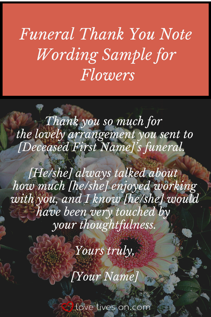 funeral thank you notes funeral thank you card wording for flowers from your loved ones coworker click for more sample wording and step by step guide