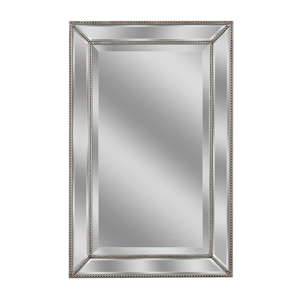 Deco Mirror 32 In L X 20 In W Metro Beaded Mirror In Silver 1204