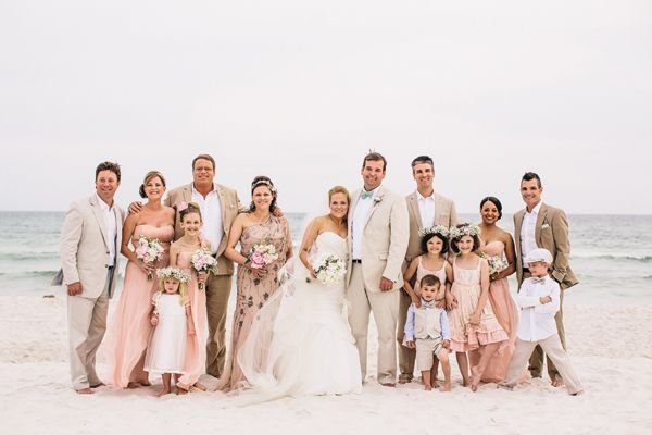 neutral beach wedding bridal party