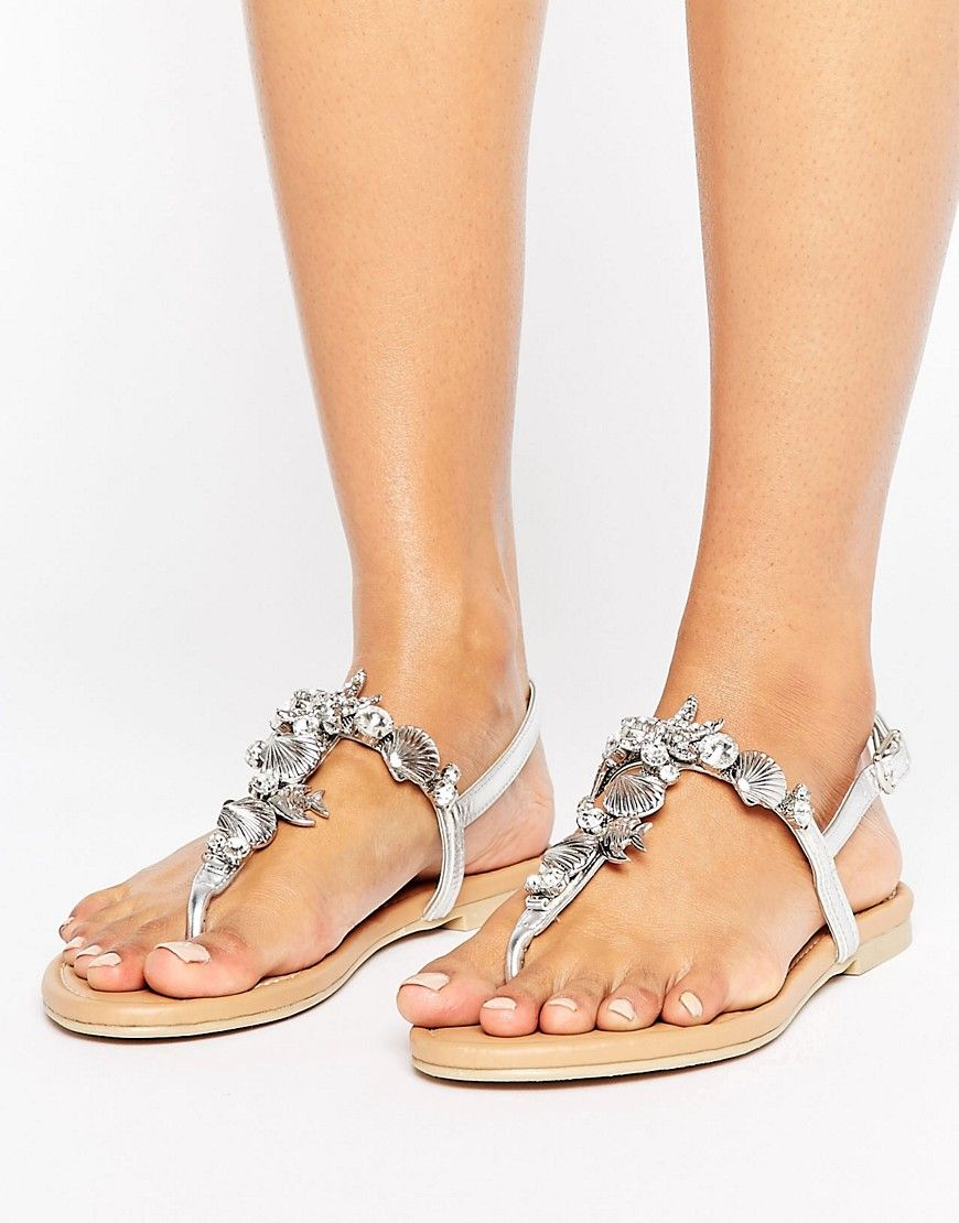 Faith Jenson Embellished Flat Sandals Silver | Studded