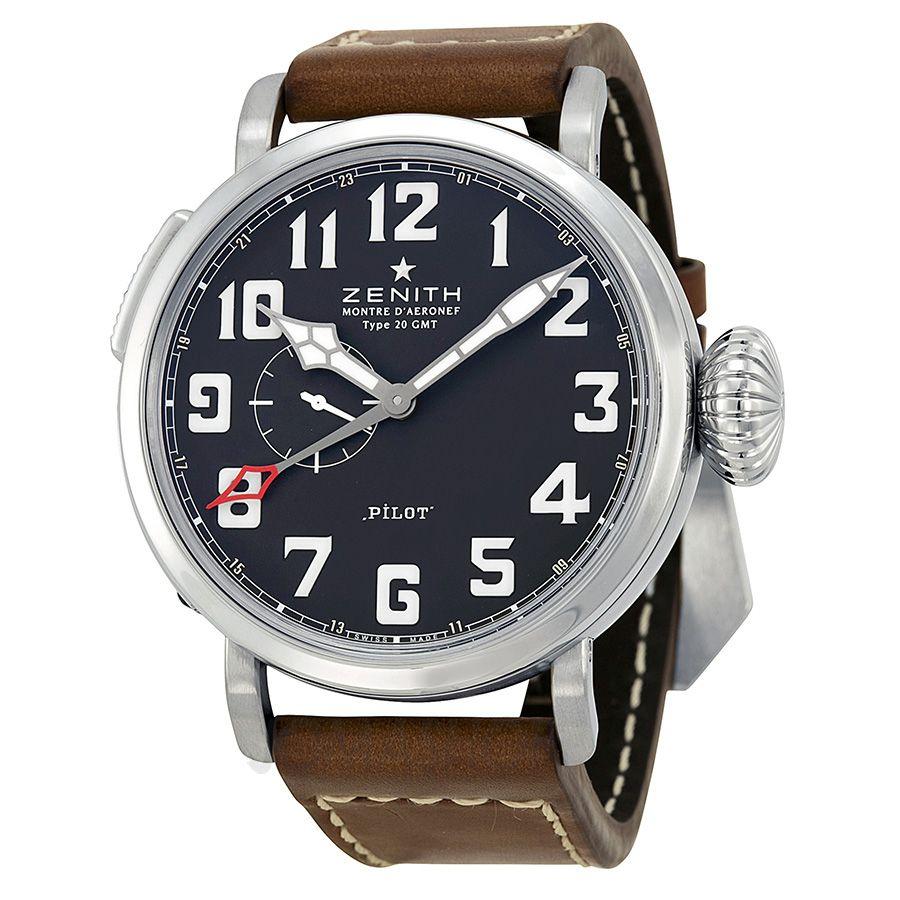 7a1cc256fe2 Zenith Pilot Automatic Black Dial Leather Strap Mens Watch  03.2430.693 21.C723  5