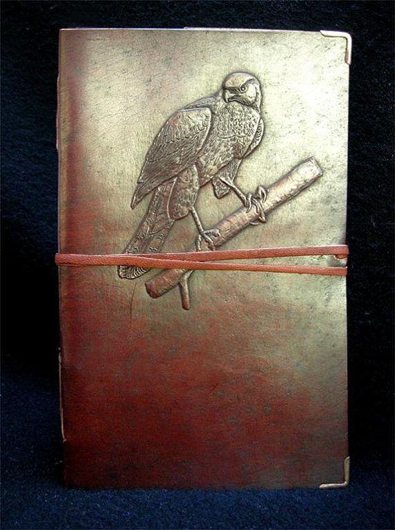 Bird-watcher's Handmade Journal Diary Sketchbook - Cooper's Hawk Design - Pages of Handmade Cotton Paper - Freepost UK