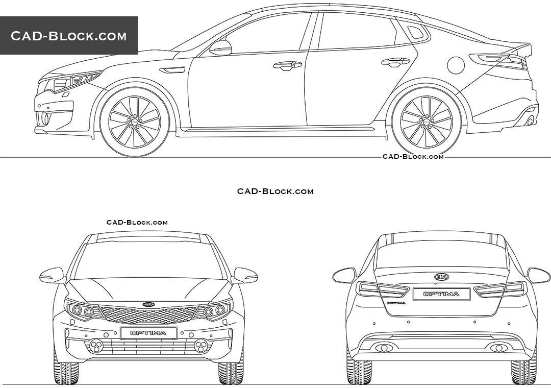 Ausmalbilder Autos Porsche Panamera : Kia Optima 2017 Cad Block Auto Pinterest