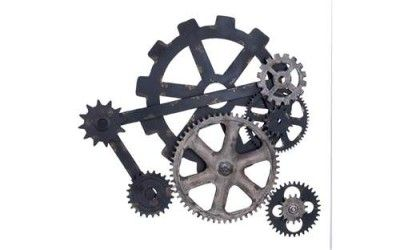 NEW Mechanical Gear Cog Wall ArtMetal Home DecorHangModern IndustrialBlk Gry