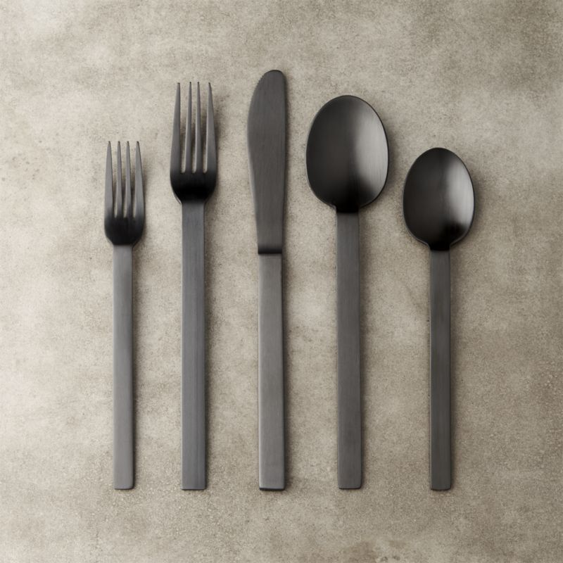 Free Shipping Shop 20 Piece Kat Matte Black Flatware Set Edgy Utensils With Thick Weighted Handles And Simple Squ Black Flatware Flatware Set Modern Flatware