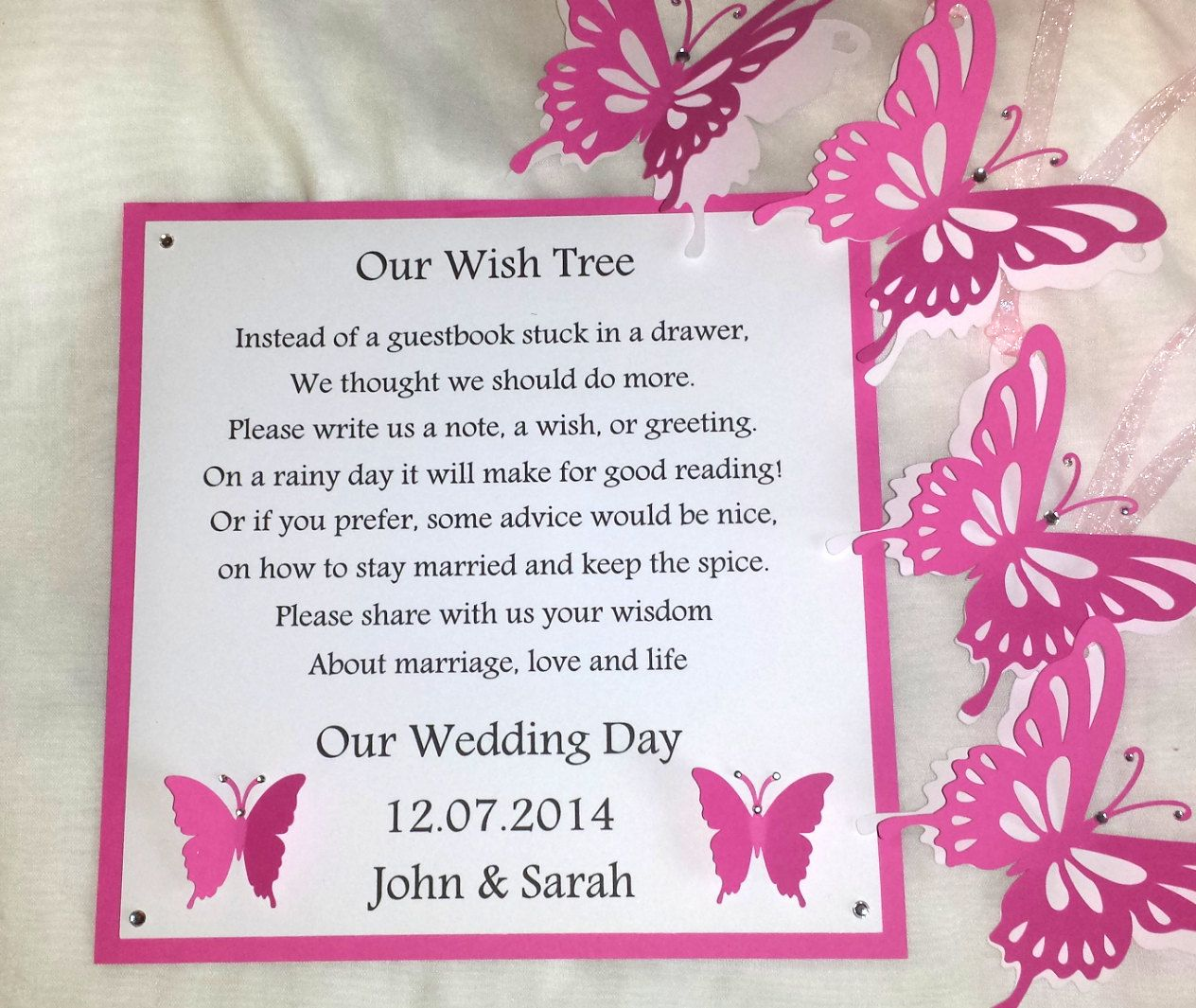 personalised wish tree poem and butterfly wish by