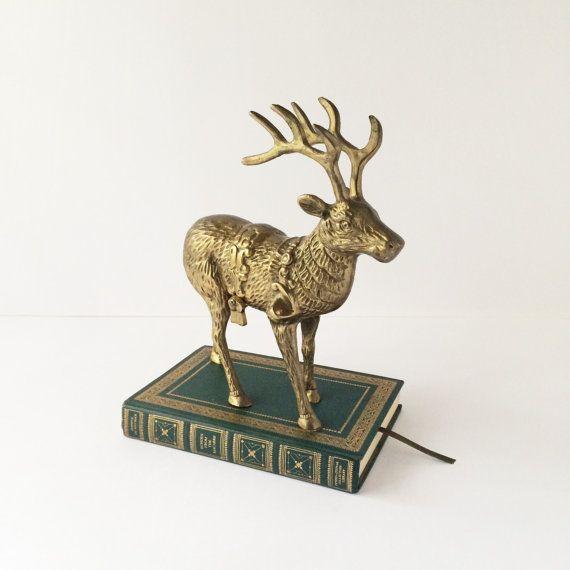 Vintage Solid Brass Reindeer Statue Large by ...